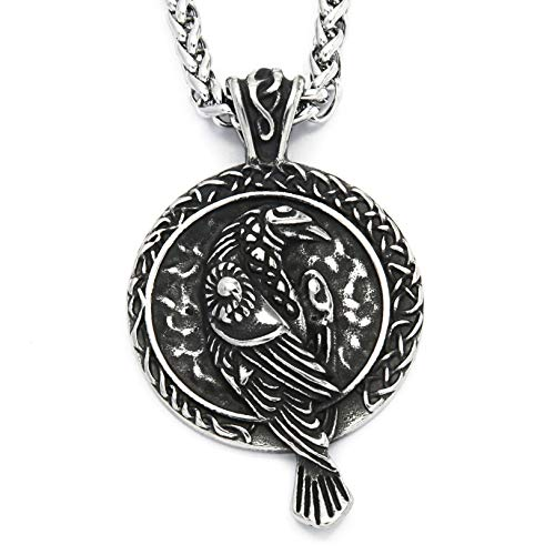 Warvik Raven Celtic Knot Necklace, Irish Totems Protect Asatru Pendant, Stainless Steel Jewelry Mens Womens Wheat Chain 20/28inch