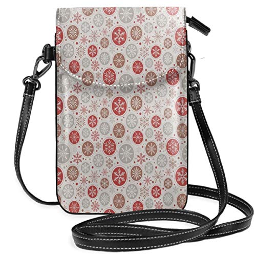 Women Small Cell Phone Purse Crossbody,Ornate Snowflakes Pattern In Circles Dots Winter Themed Old Fashioned Print