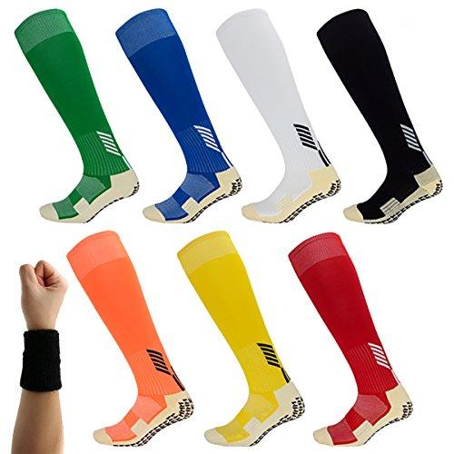 Dee Plus Rutschfeste Fußball Socken Stutzenstrümpfe Kompression Basketballsocken/Yoga Socken Noppen Sohle Damen & Herren Socken Anti Rutsch Socken Sportsocken Grip Fußballsocken
