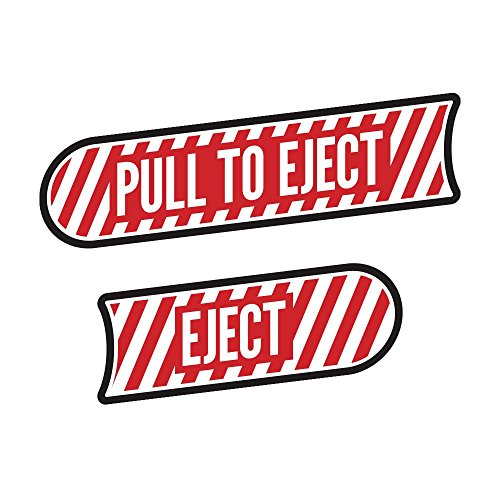 Pull to Eject Decal Pair Compatible with All Jeep Wrangler JK Models 2007-2018