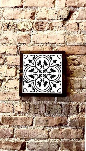 FloradeSweet Señal de mosaico para azulejos de mosaico, signo geométrico, signo de madera, decoración de pared, 7 pulgadas