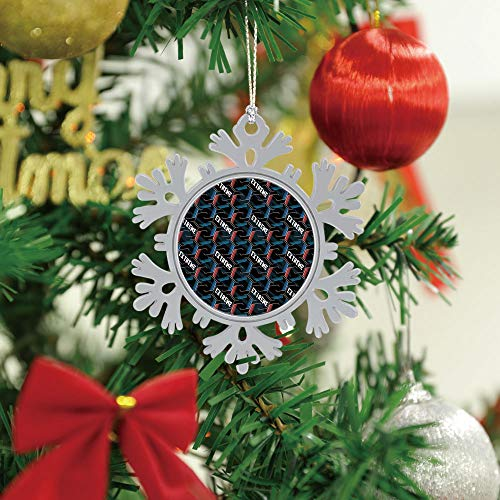 SUPNON Christmas Hanging Snowflake Ornament - Abstract Seamless Football Pattern with - Merry Christmas Cute Xmas Tree Hanging Decoration - Circle Ceramic Holiday Family & Friends Gift SW81872,3 PCS