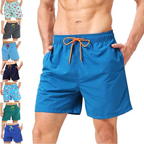 coskefy Badeshorts für männer Jungen Badehose Schwimmhose Schnelltrocknend Kurz Beachshorts Boardshorts Strand Shorts Sporthose mit Mesh-Futter Tunnelzug(Blau,XS(EU)-MarkeGröße M)
