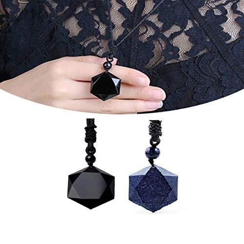 DAGONGJI 2 Piezas de Amuleto con Colgante de Hexagrama de Estrella de David, Amuleto de Hexagrama Sagrado Collar de Cumpleaños de Boda del día de San Valentín para Mujeres y Hombres