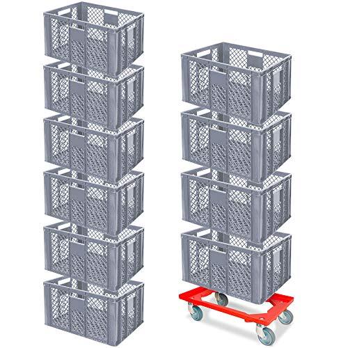10er SPAR-Set Euro-Stapelbehälter PLUS GRATIS Transportroller, 600x400x320 mm Industriequalität lebensmittelecht grau