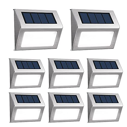 [Pack of 8] F-TECK Outdoor Stainless Steel LED Solar Step Light Wireless Super Bright Modern White Lamp Waterproof Lighting for Deck, Staircase, Walkway, Patio, Garden, Yard Auto On/Off Dusk to Dawn