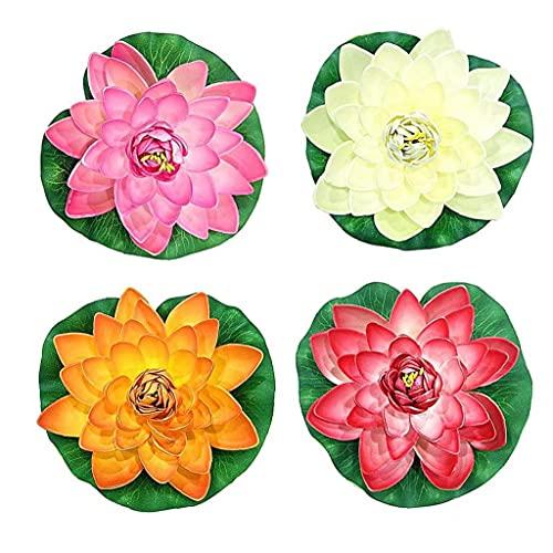 TOPofly Las Plantas Artificiales 4PCS Lotus Pond Espuma decoración Flor Artificial de la Espuma de Lotus Realista del Lirio de Agua Fuente Plantas Impermeables Decoración 18cm