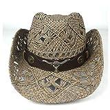 PANFU-DY Lady Dad Beach Sombrero Hombre Straw Panama Cowgirl Jazz Sun Cap Summer Women Hombres Hollow Western Cowboy Hat (Color : Café, tamaño : 56-58)