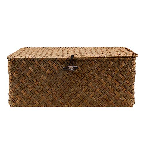 Woven Seagrass Storage Box Baskets with Lid for Home Decor Organization-L