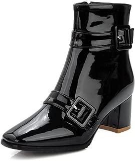 [ウンファッション] レディース スクエアトゥ 中ヒール エナメル バックル ジッパー ショートブーツ