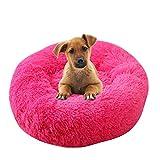 Vejaoo Cama De Gato/Perros Extra Suave Cómodo Sleeping Sofa Cama De Felpa para Cachorros y Perros XZ007 (Diameter:80 CM, Rose Red)