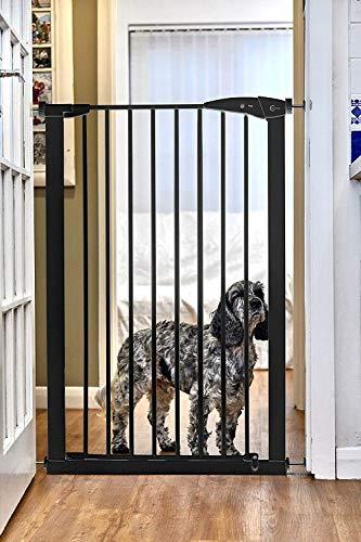 Callowesse® PET GATE – Extra hohes Tür- und Treppenschutzgitter für Haustiere und Kinder 75-82 cm x 110 cm – Druck-Montage (Schwarz)