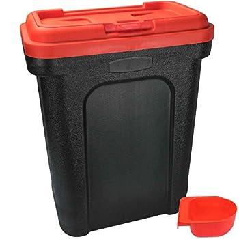 Boîte de rangement ASAB pour nourriture pour chien, chat, oiseau, boîte à rabat avec pelle intégrée, Red, Taille L