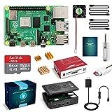 LABISTS Raspberry Pi 4 Kit de démarrage avec carte mémoire RAM 4 Go, carte Micro SD 64 Go, alimentation 3A avec interrupteur marche/arrêt, ventilateur de refroidissement et 3 radiateurs, boîtier noir premium et autres accessoires nécessaires.