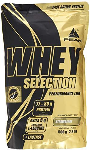 PEAK Whey Selection 1000g| über 40% Isolatanteil | Premium Molkenprotein mit L-Leucin | (Strawberry)
