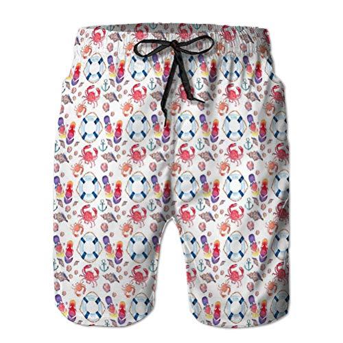 Mens Running Fashion Beach Shorts Pantalones Brillante Colorido Encantador Verano patrón de Playa Marina Chanclas cangrejos Rojos Pastel Lindo Conchas Marinas Azul Salvavidas Oscuro