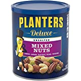 Planters Deluxe Unsalted Mixed Nuts, 15.25 oz. Resealable Container | Variety Unsalted Nuts with Cashews, Almonds, Hazelnuts, Pistachios & Pecans | Shareable Snack for Snacking