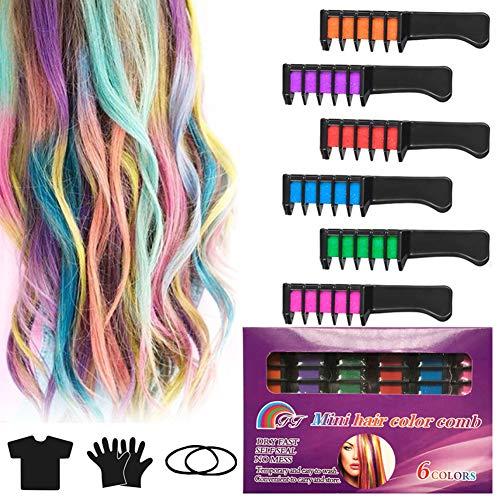 Haarkreide Kamm Haarfarbe, INTVN Non-Toxic 6 Farbe Haarfarbe Kamm Auswaschbar Temporär Haarfarbe Kreide Kamm und Schal für Kinder Party und Cosplay