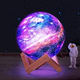Balkwan 5.9 inch 3D Night Light Galaxy Moon Lamp, Night Light for Kids with 16 LED Colors, Remote Control and Touch Control,USB Charging,Romance Home Decor for Women,Family,Children
