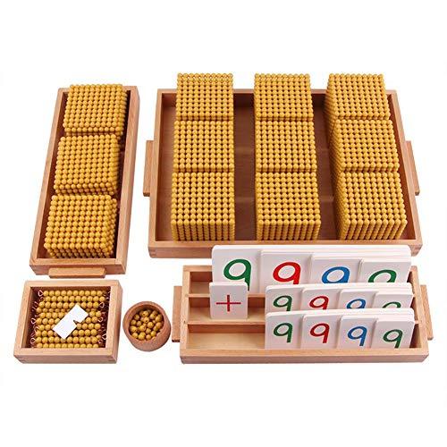 Wumudidi Montessori goldenes Korn Material-Set, Holz Dezimal Bank Spiel Elementary Math Manipulatives