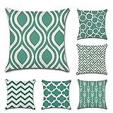 JOTOM - Juego de 6 fundas de cojín cuadrada de lino y algodón, para decoración de sofá o habitación, 45 x 45 cm, Turquesa, 45 x 45 Centimeters