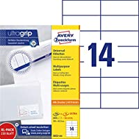 Avery Zweckform 3653-200 Universal Labels 105x42.3 mm for Inkjet Laser Copy White