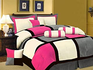 Grand Linen Oversize Hot Pink/Black/Grey Comforter Set Micro Suede Patchwork Bed in A Bag Full Size Bedding