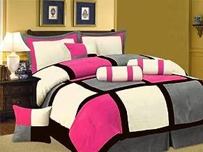 Grand Linen Oversize Hot Pink/Black/Grey Comforter Set Micro Suede Patchwork Bed in A Bag Queen Size Bedding