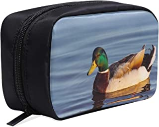 The Mallard Or Wild Duck On Branch Portable Travel Makeup Cosmetic Bags Organizer Multifunction Case Small Toiletry Bags For Women And Men Brushes Case