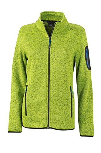 James & Nicholson Damen Jacke Jacke Knitted Fleece Jacket grün (Kiwi-Melange/Royal) Small