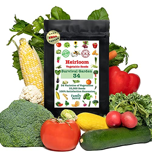 Survival Seeds by Family Sown – 15,000 Non GMO Heirloom Seeds, Naturally Grown Herb Seeds & Seeds for Planting Vegetables and Fruits, Perfect Vegetable Garden Seed Starter Kit