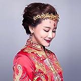 Chinese Red Flower Floral Beaded Flapper Headband Jeweled Bridal Wedding Tiara