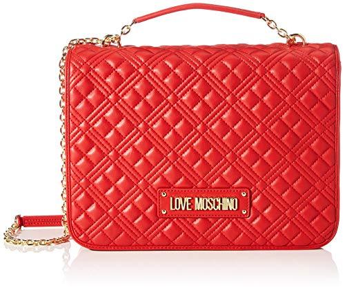 Love Moschino Precollezione ss21, Borsa a Spalla Grande PU, New Shiny Quilted Donna, Rosso, Normal