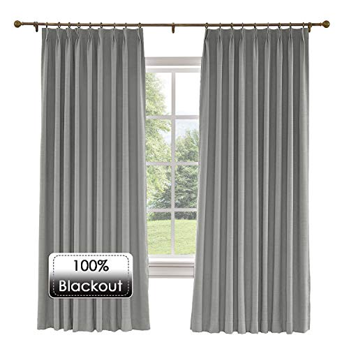 Prim Room Extra Wide Blackout Linen Curtains Draper Darkening Thermal Insulated Pinch Pleat Large Window Curtain for Living Room/Floor to Ceiling Window, Rock Grey, 120x96-inch, 1 Panel