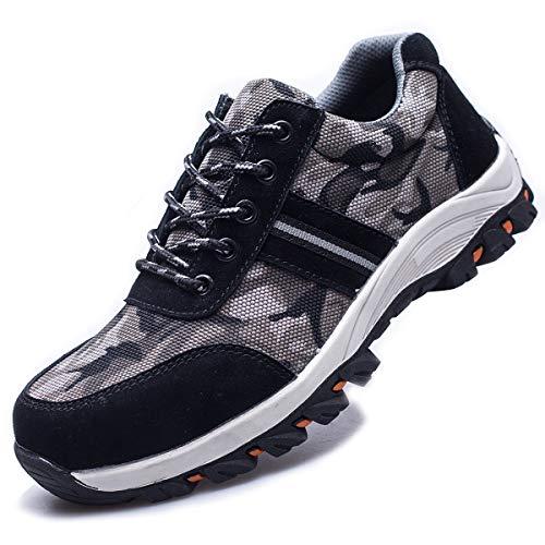SUADEEX Arbeitsschuhe Damen Herren Sicherheitsschuhe s3 Leicht Stahlkappen Sportlich Schuhe, 05-schwarz, 44 EU