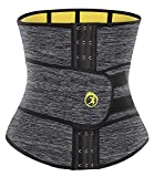 SEXYWG Waist Trainer Trimmer Sauna Sweat Belt Neoprene Weight Loss Body Shaper Tummy Control Cincher, Grey, M