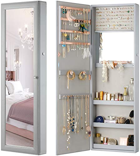LUXFURNI Jewelry Armoire Organizer, Wall/ Door Mounted Cabinet with Full Length Mirror (Grey)
