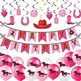 32 Piezas de Decoración Fiesta Temática de Vaquera Pancarta de Happy Birthday Globo de Látex de Caballo Adorno en Espiral de Rosa de Sombrero de Vaquero Bota de Montar para Fiesta Increíble