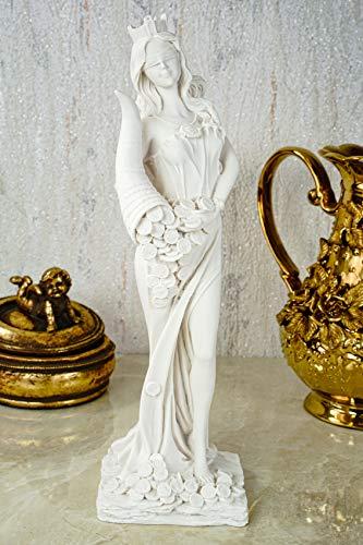 Kremers Schatzkiste Alabaster Figur Fortuna mit Füllhorn Göttin des Glücks Skulptur 28 cm weiß Glück Glückspiel