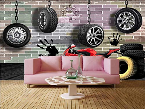Photo Wallpaper Retro License Plate Tires Classic Car Ktv Background Wall Large Wall Mural Series Wallpaper for Living Room Wall Art Wall Decor Home Decor-118.2X82.7Inch