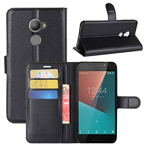 Compatible for TCL VODAFONE SMART N8 VFD610 Case Cover Case Stand Flip Gel Silicone TPU Magnetic Wallet Eco Leather Card Holder (Black)