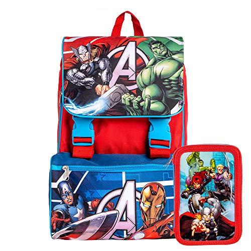 Zaino Estensibile Big Organizzato Marvel Avengers Con Spallacci Regolabili e Schienale Imbottito, Perfetto Per Scuola e Tempo libero (Zaino+Astuccio)