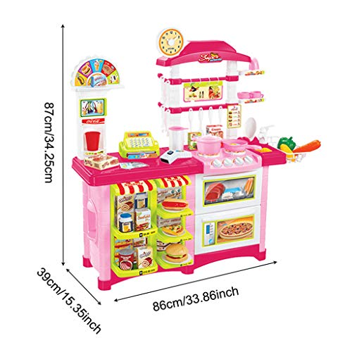 Gbell Pretend Playsetsfor Toddlers, Complete Kitchen Playset,Toddler Cooking Toys Kids Oven Sink Stove top Cookware Pretend Play Lights & Sound Effects, Best Birthday Gift (Pink /Ship from US)