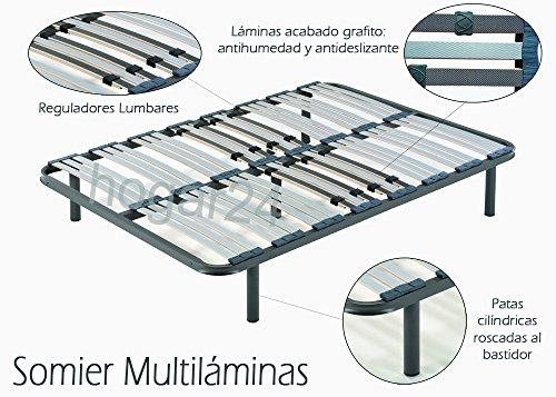 HOGAR 24 Somier multiláminas con reguladores lumbares-135x190cm-PATAS (5 Incluidas), Haya, 135x190 cm-Patas 26cm