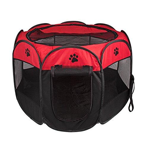 BIGWING Style Recinzione per Cuccioli - Grande recinto per Animali da Usare all'Interno e all'Esterno- Facile da Montare Red L