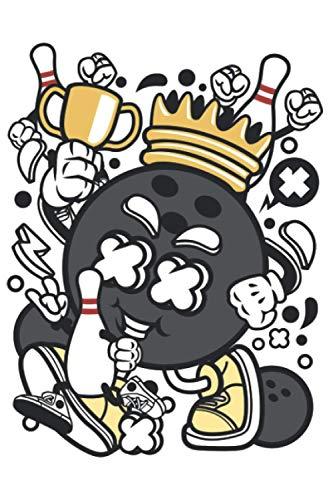 Bowling Comic Figur Bowlingkugel Bowler: DIN A5 Liniert 120 Seiten / 60 Blätter Notizbuch Notizheft Notiz-BlockGeschenk für Bowling Bowlen Bowler Verein Vatertag