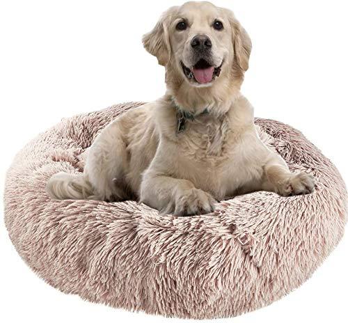 Hundebett, Flauschiges Hundebett für mittelgroße Hunde, pelzige Abdeckung - PP-Baumwolle - Rutschfestes Katzenbett Komfortable Hundenest Maschinenwaschbar Braun(80 * 80CM)
