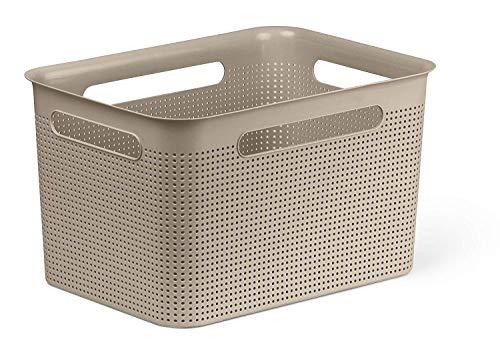 Rotho Brisen große Aufbewahrungsbox 16l mit 4 Griffen, Kunststoff (PP) BPA-frei, cappuccino, 16l (36,0 x 26,2 x 21,1 cm)