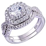 Newshe Wedding Band Engagement Ring Set for Women 925 Sterling Silver 1.8Ct Round White AAAAA Cz Size 7