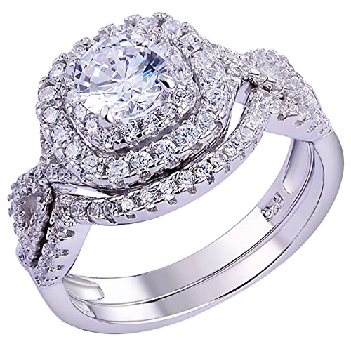 Newshe Wedding Band Engagement Ring Set for Women 925 Sterling Silver 1.8Ct Round White AAAAA Cz Size 6